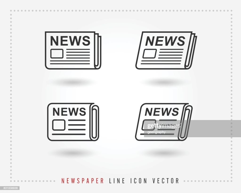 Newspaper line icon vector, pictogram isolated on white. news icon illustration