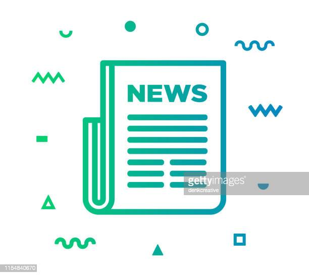 newspaper line style icon design - routine stock illustrations
