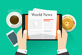 Newspaper on tablet vector illustration, flat cartoon person hands reading world news magazine on electronic device, idea of coffee break or lunch, business breakfast table top view
