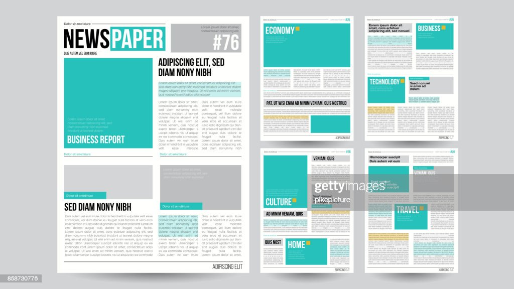 Newspaper Template Vector. Financial Articles, Business Information. Opening Editable Headlines Text Articles. Realistic Isolated Illustration