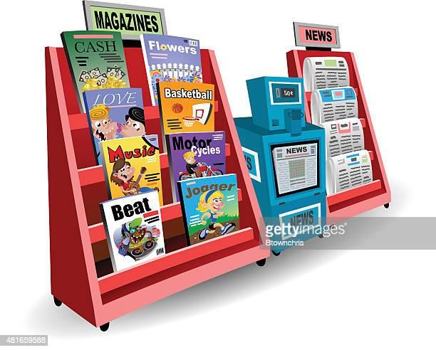 newsstand - news stand stock illustrations