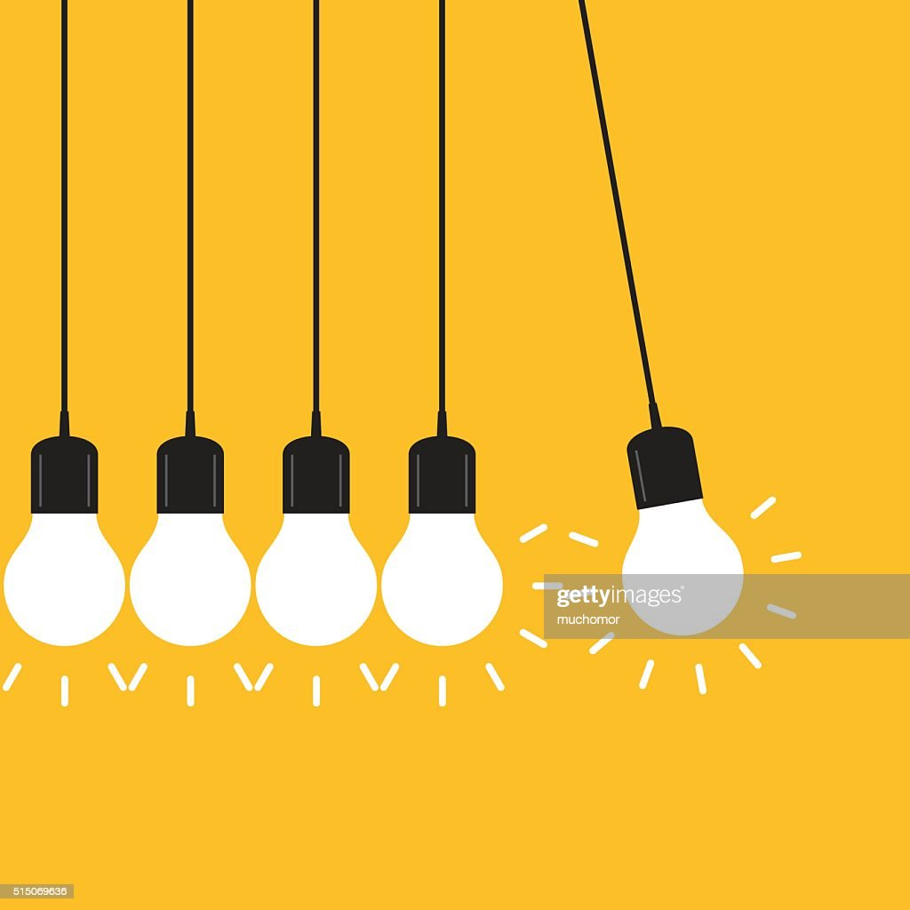 Newton's cradle concept on yellow background