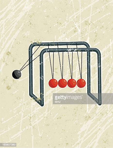 newton's cradle with red and black balls - domino effect stock illustrations