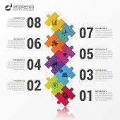 nfographics design. Timeline template. Puzzle concept. Vector