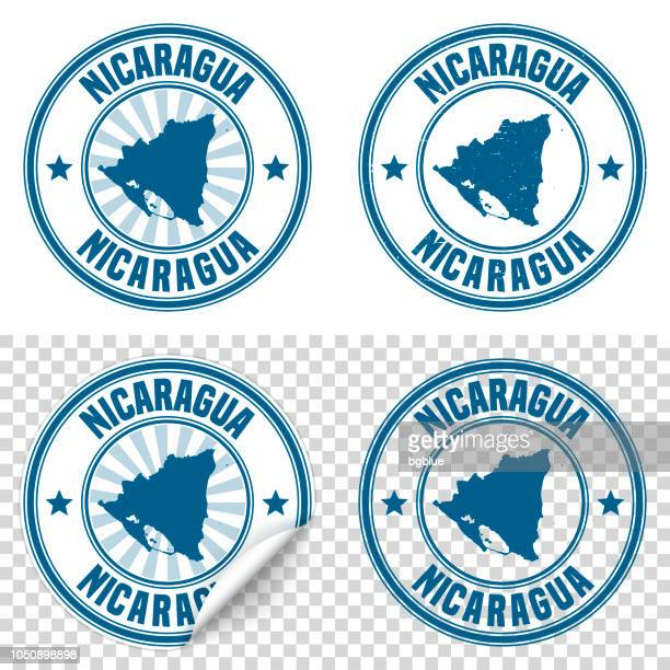 Nicaragua - Blue sticker and stamp with name and map