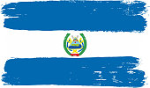 Nicaragua Flag Vector Hand Painted with Rounded Brush