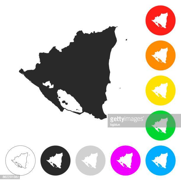 Nicaragua map - Flat icons on different color buttons
