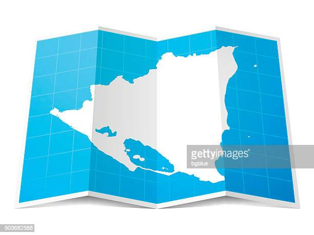 Nicaragua Map folded, isolated on white Background