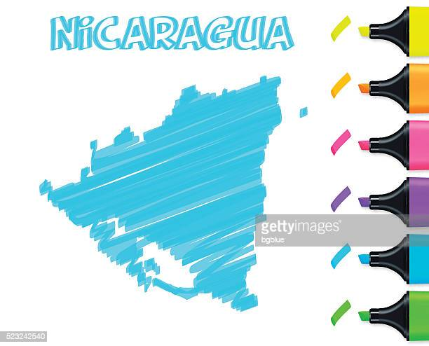 Nicaragua map hand drawn on white background, blue highlighter