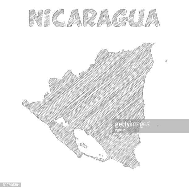 Nicaragua map hand drawn on white background