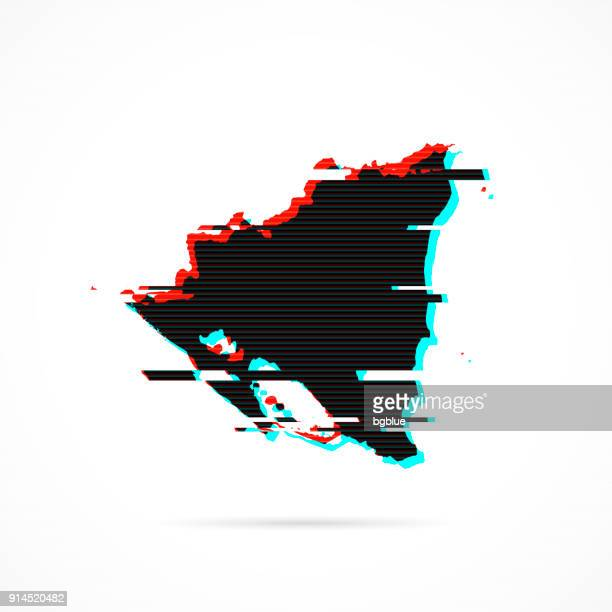 Nicaragua map in distorted glitch style. Modern trendy effect