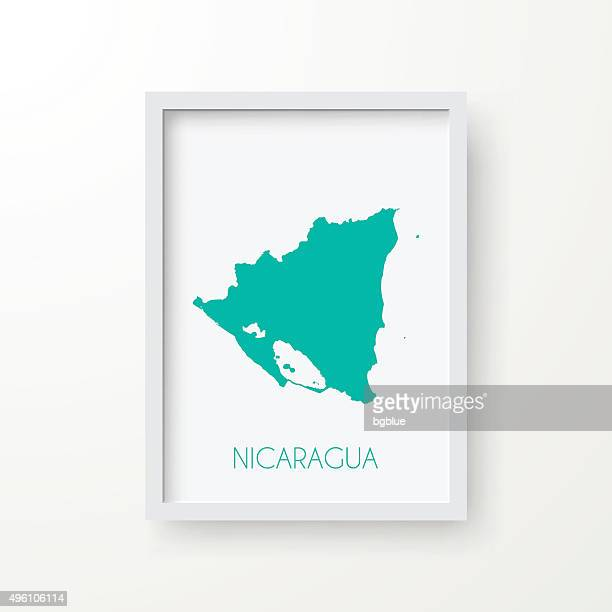 Nicaragua Map in Frame on White Background