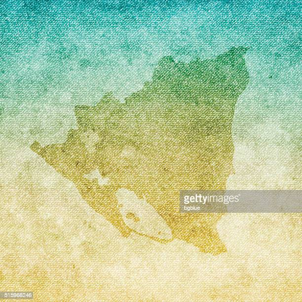 Nicaragua Map on grunge Canvas Background