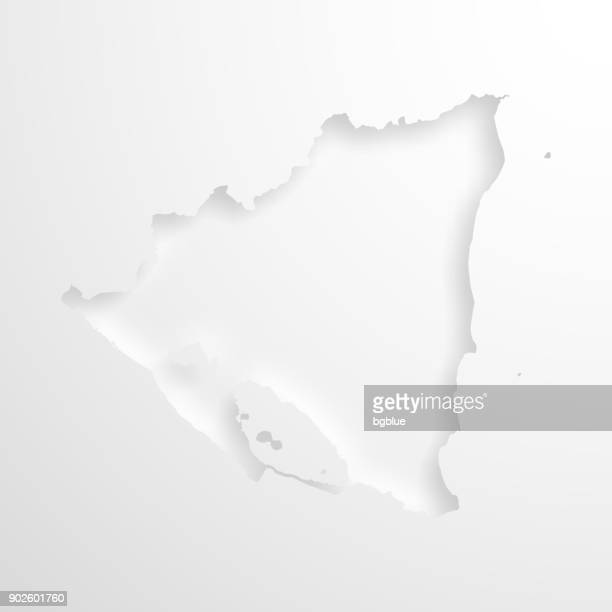 Nicaragua map with embossed paper effect on blank background