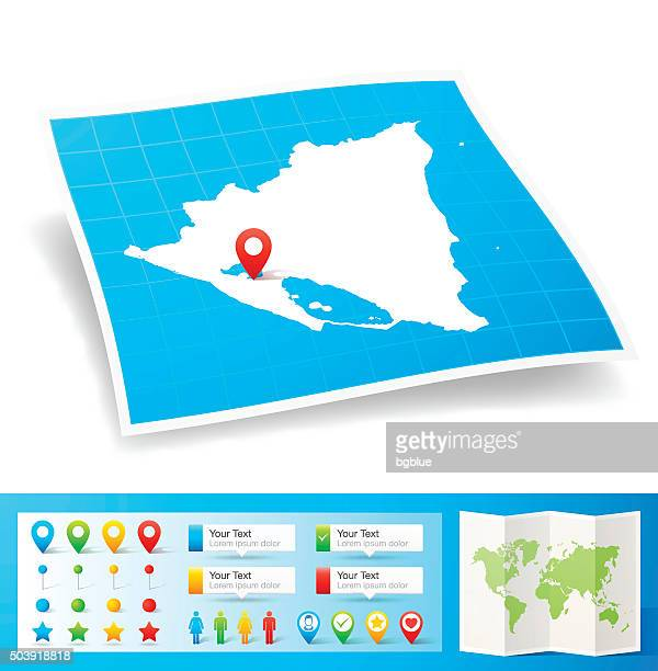 Nicaragua Map with location pins isolated on white Background