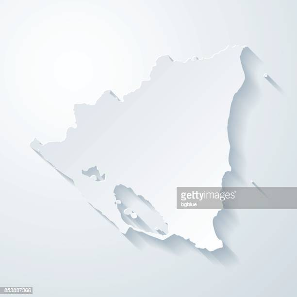 Nicaragua map with paper cut effect on blank background