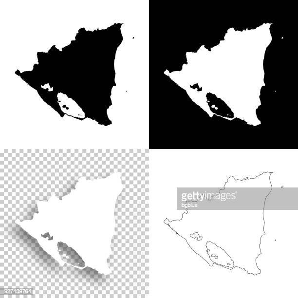 Nicaragua maps for design - Blank, white and black backgrounds