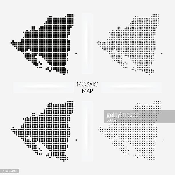 Nicaragua maps - Mosaic squarred and dotted
