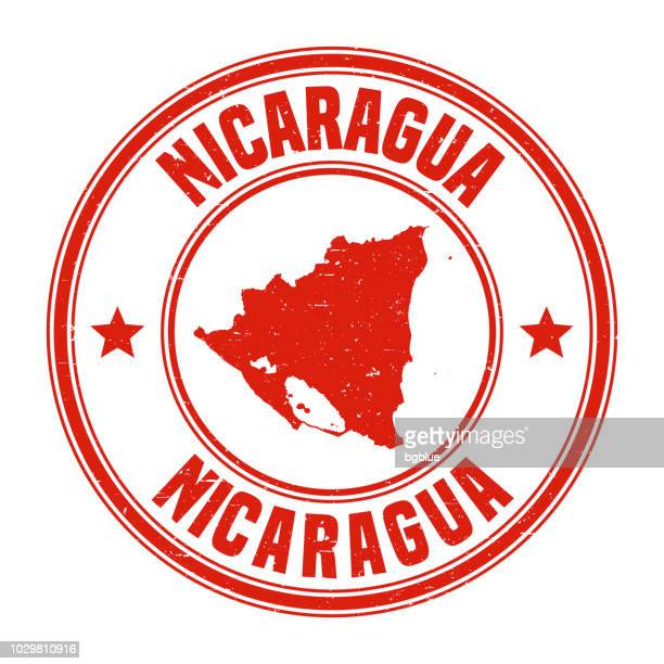 Nicaragua - Red grunge rubber stamp with name and map