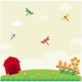 nice and cool cartoon scenery of red barn house farmland or barnyard