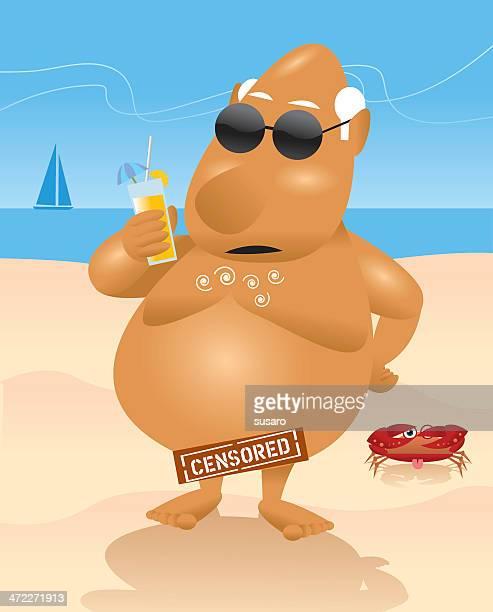 bildbanksillustrationer, clip art samt tecknat material och ikoner med nice day at nude beach - naken