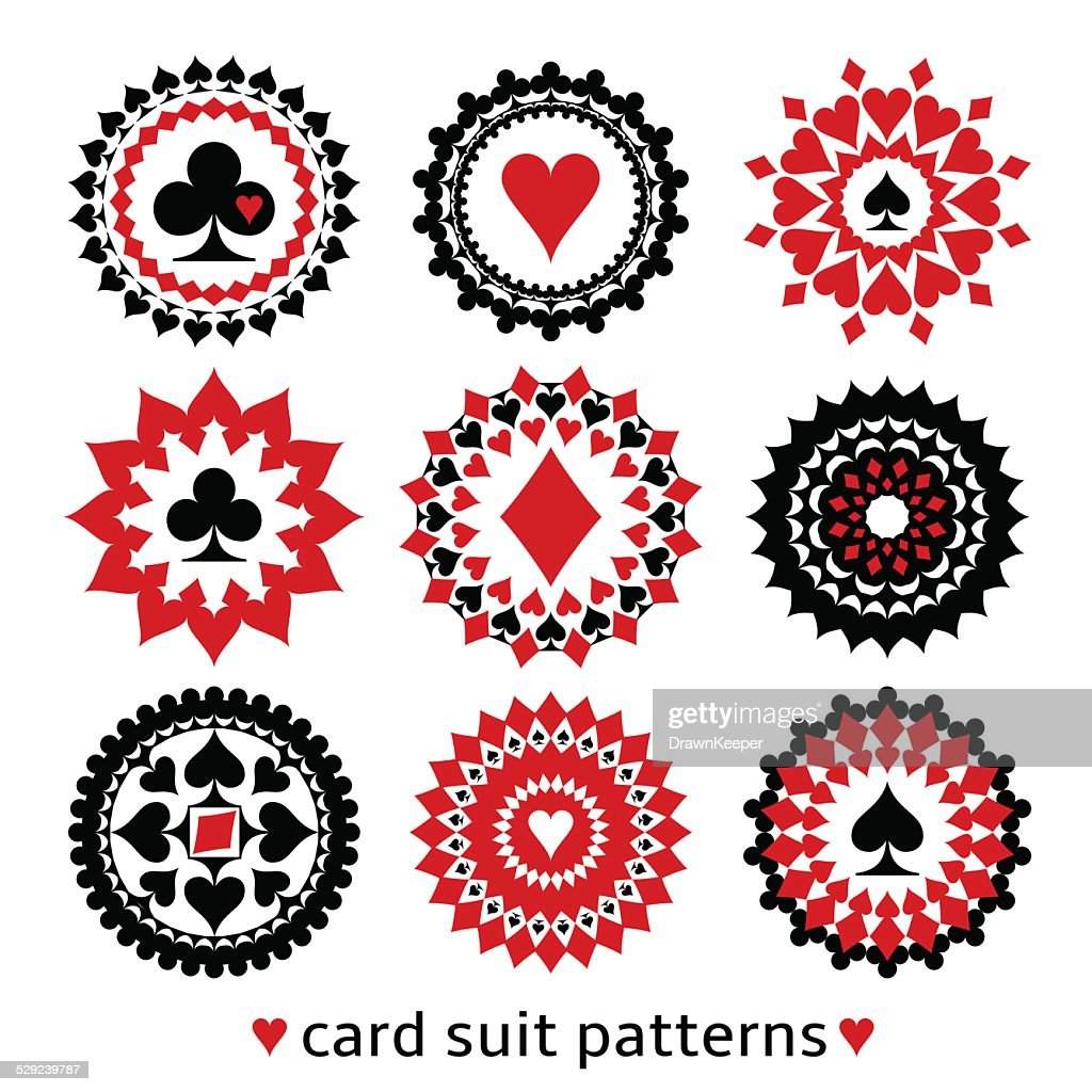 Nice set of card suit round patterns.