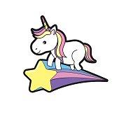 nice unicorn with horn and shooting star