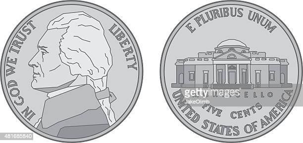 us nickel coin - thomas jefferson stock illustrations, clip art, cartoons, & icons