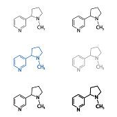 Nicotine molecular structural chemical formula set. Vector icon.