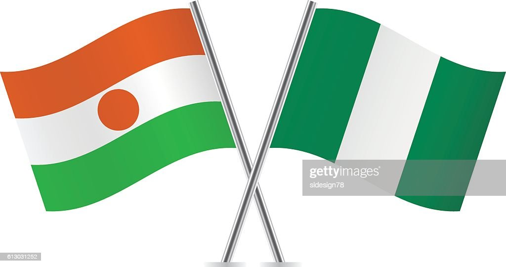 Niger and Nigeria flags. Vector.