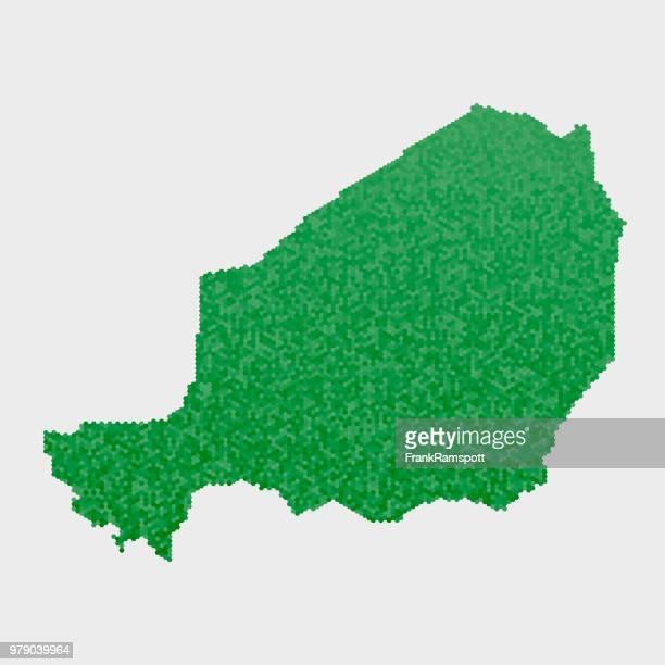Niger Land Map grünen Sechseck-Muster
