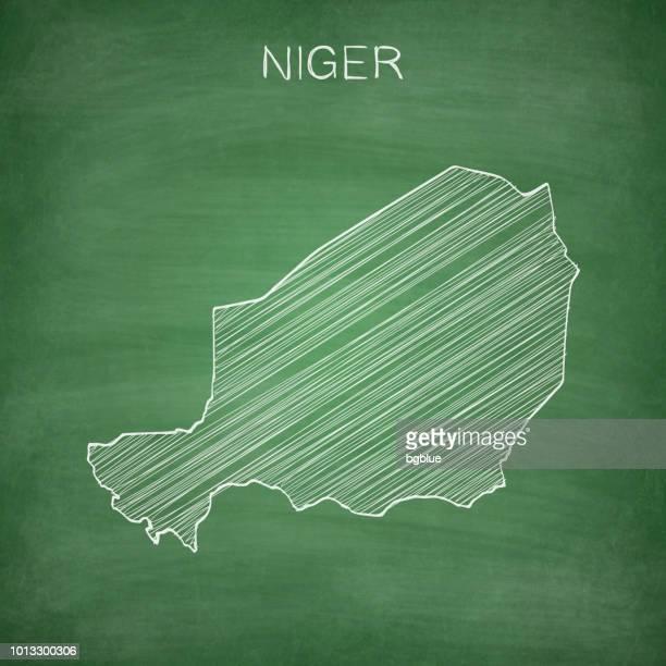 ilustrações, clipart, desenhos animados e ícones de mapa de niger desenhado na lousa - blackboard - níger