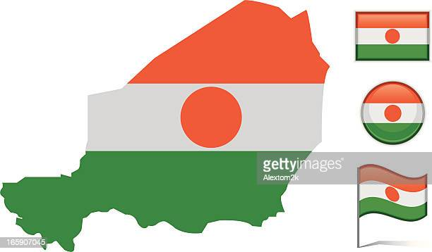 Niger map & flag
