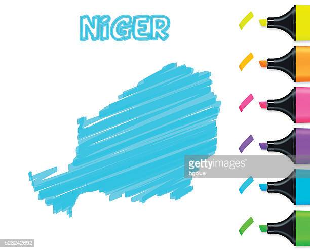Niger map hand drawn on white background, blue highlighter