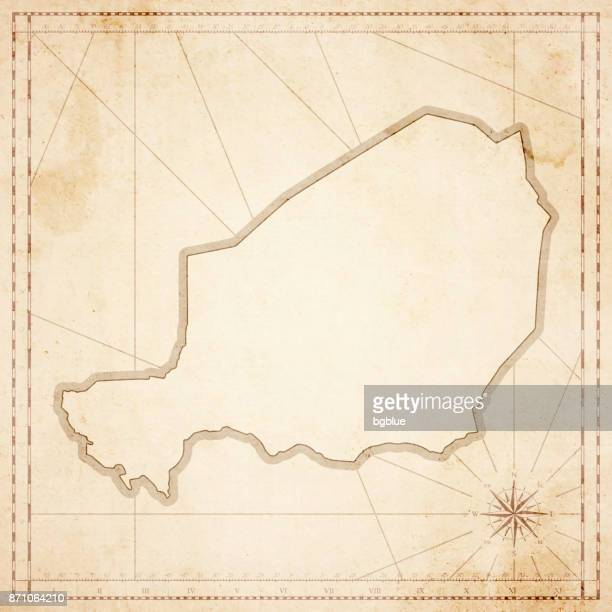 Niger map in retro vintage style - old textured paper