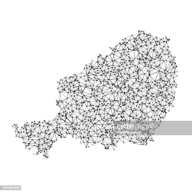 niger map network black and white - west africa stock illustrations, clip art, cartoons, & icons