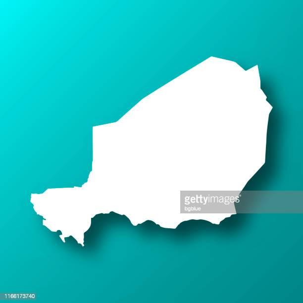 ilustrações, clipart, desenhos animados e ícones de mapa de niger no fundo verde azul com sombra - níger