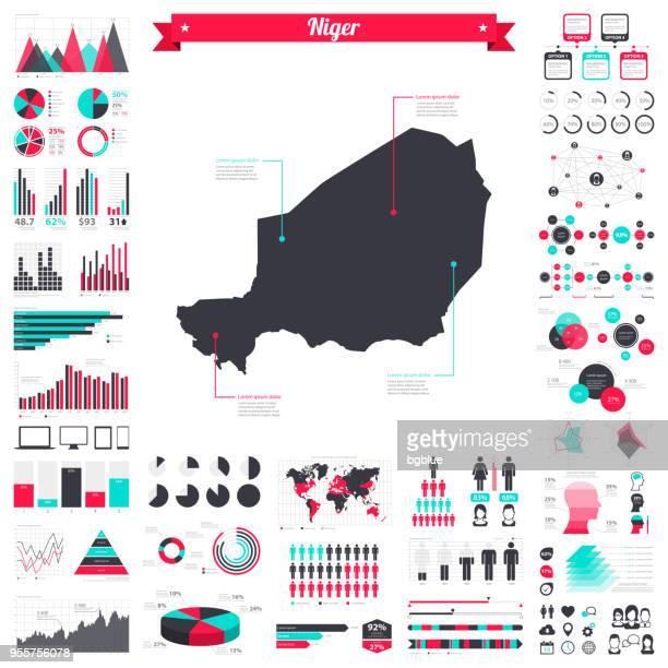ilustrações, clipart, desenhos animados e ícones de mapa do níger com elementos infográfico - grande conjunto gráfico criativo - níger