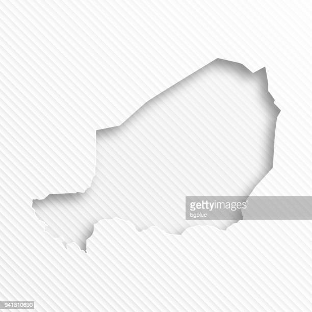 Niger map with paper cut on abstract white background