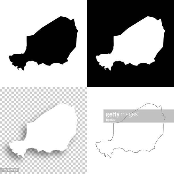 Niger maps for design - Blank, white and black backgrounds