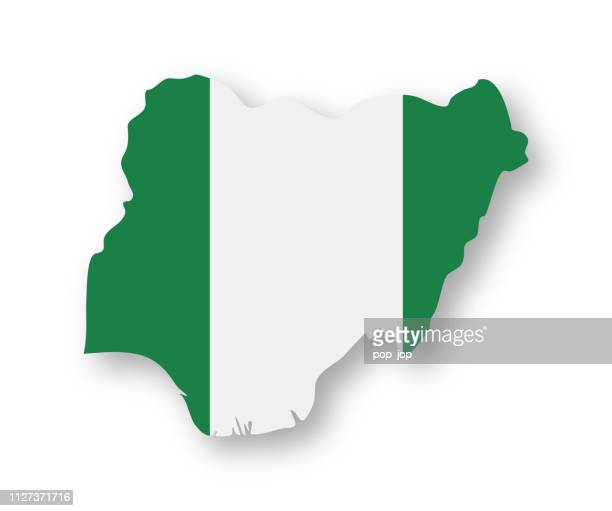 nigeria - contour country flag vector flat icon - national flag stock illustrations