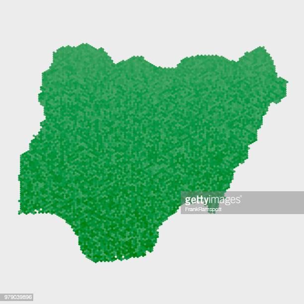 Nigeria-Land-Map-grünen Sechseck-Muster