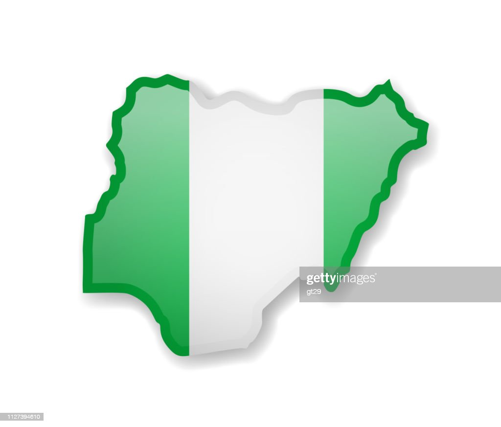 Nigeria flag and outline of the country on a white background.