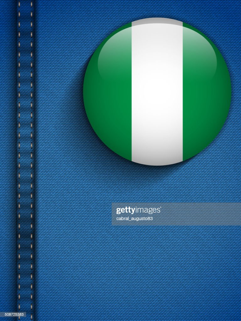Nigeria Flag Button in Jeans Pocket