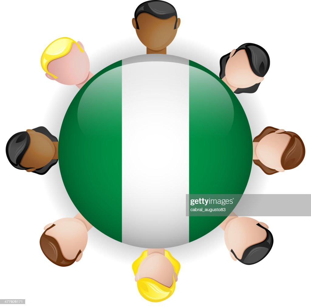 Nigeria Flag Glossy Button with People