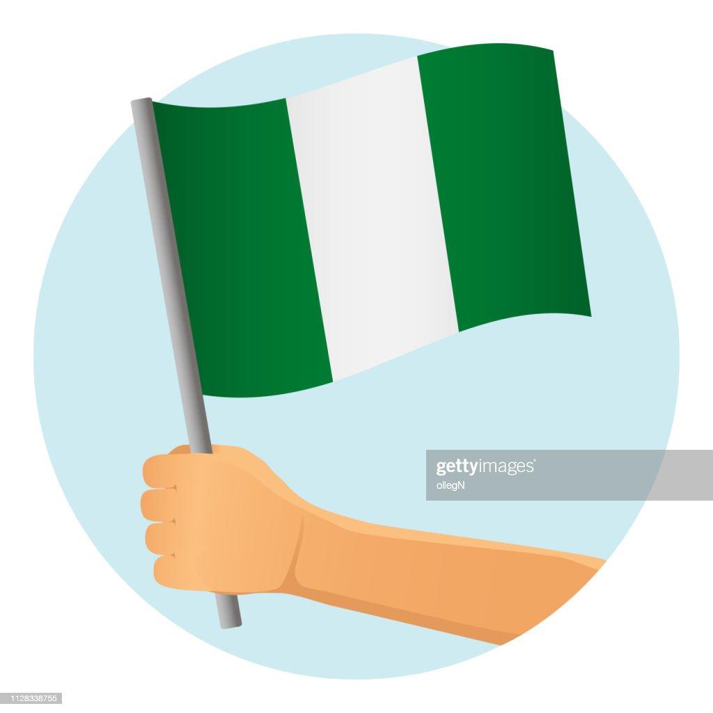 Nigeria flag in hand