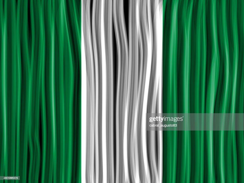 Nigeria Flag Wave Fabric Texture Background