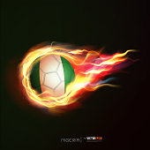 Nigeria flag with flying soccer ball on fire, vector illustration
