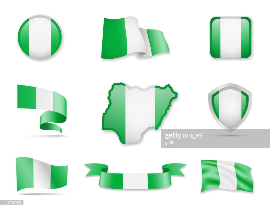 Nigeria flags collection. Vector illustration set flags and outline of the country.