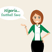 Nigeria football fans.Cheerful soccer fans, sports images.Young woman,Pretty girl sign.Happy fans are cheering for their team.Vector illustration